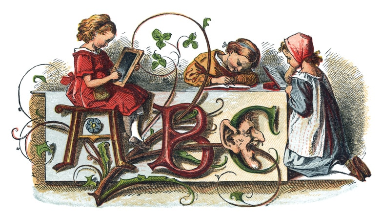 "Three little 19th century girls doing their lessons. One is writing on a slate, one is writing in a book and the third is reading at a table where the letters ABC are entwined with foliage. From ""Schnick Schnack - Trifles for Little Ones"" published by George Routledge & Sons, London, 1867."