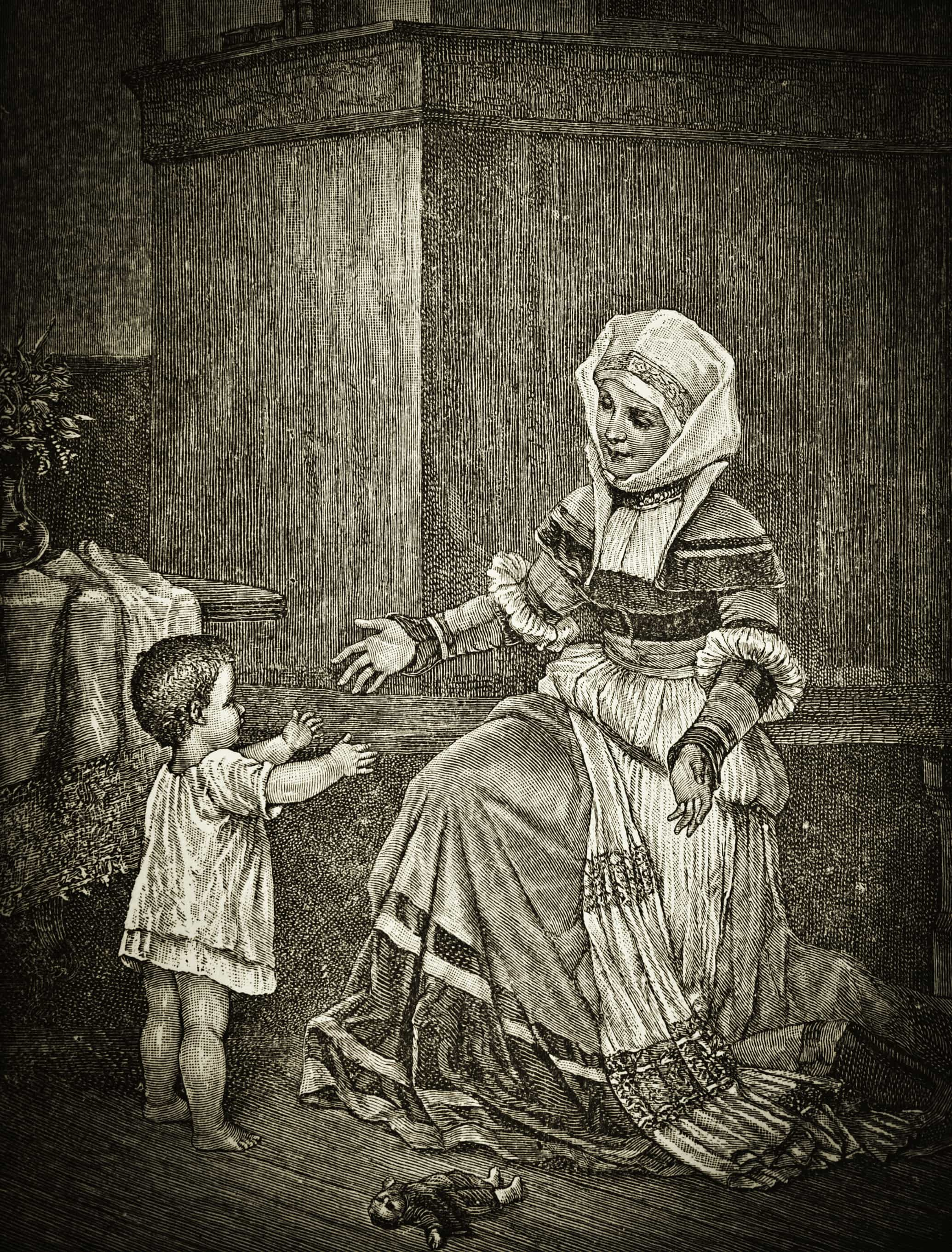 Mother and Child - Victorian Steel Engraving
