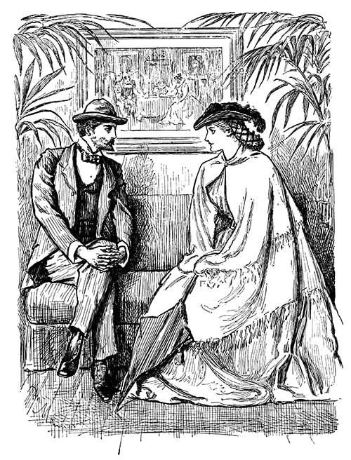 A Victorian man and woman sitting on a bench between some potted palms, conversing politely.