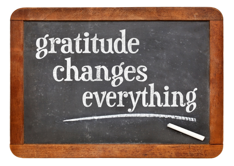 Gratitude changes everything - inspirational text on a vintage slate blackboard